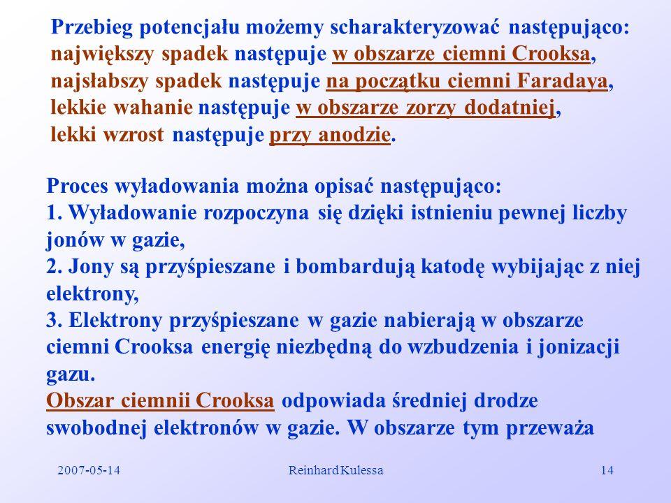 2007-05-14Reinhard Kulessa14 Przebieg potencjału możemy scharakteryzować następująco: największy spadek następuje w obszarze ciemni Crooksa, najsłabsz