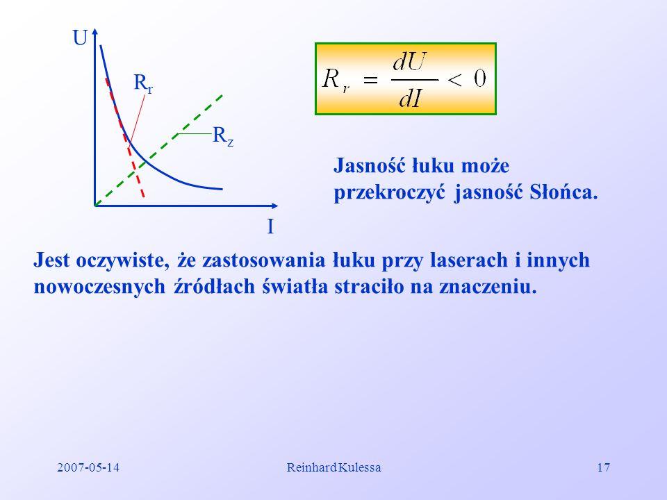 2007-05-14Reinhard Kulessa17 U I Jasność łuku może przekroczyć jasność Słońca. Jest oczywiste, że zastosowania łuku przy laserach i innych nowoczesnyc