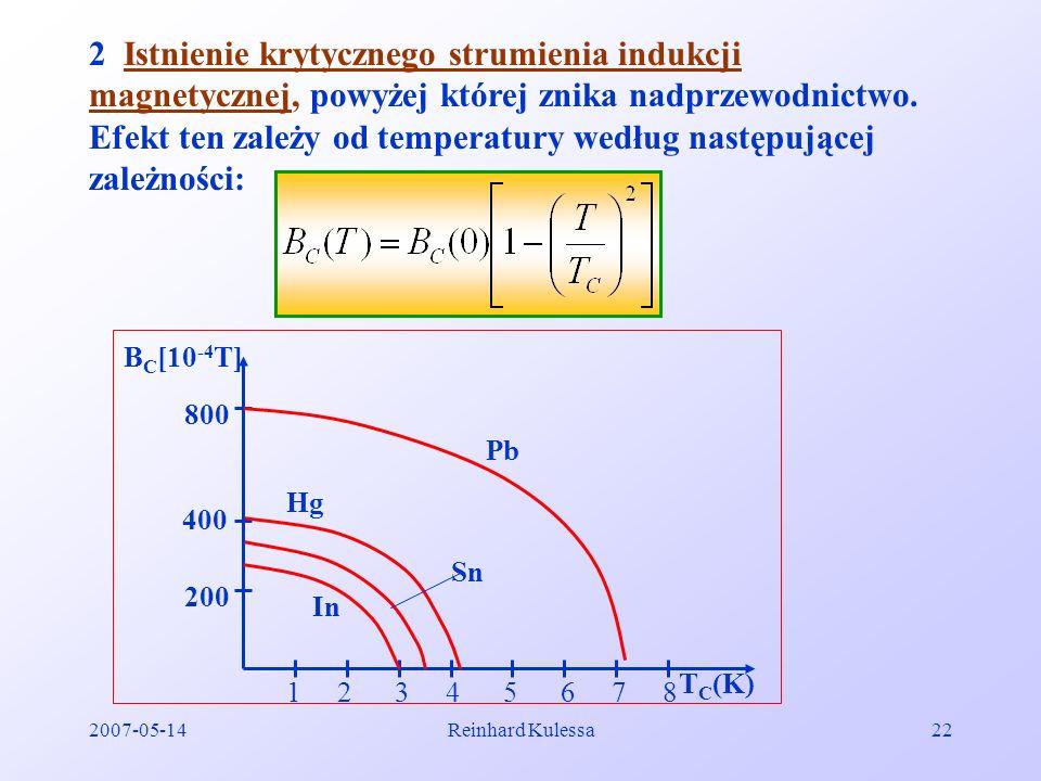 2007-05-14Reinhard Kulessa22 2 Istnienie krytycznego strumienia indukcji magnetycznej, powyżej której znika nadprzewodnictwo. Efekt ten zależy od temp