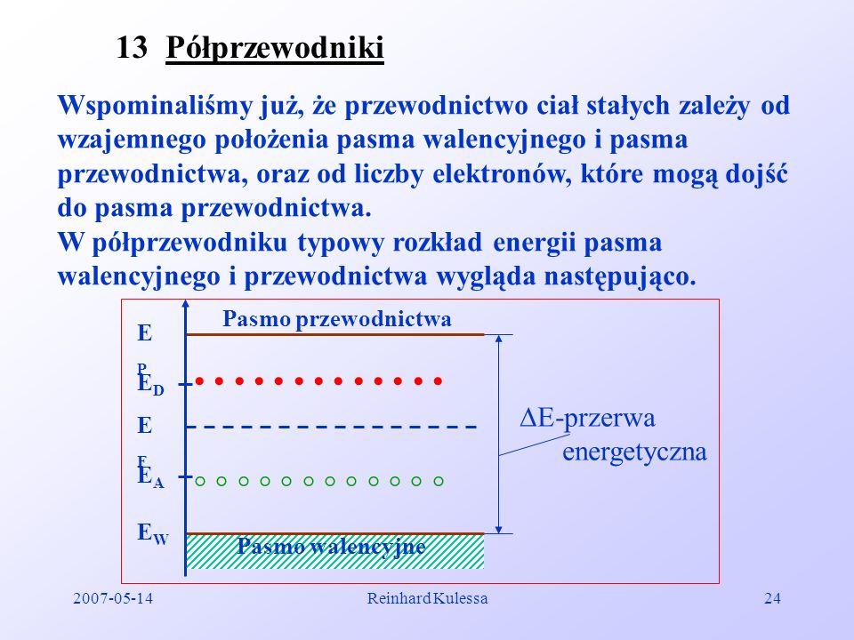 2007-05-14Reinhard Kulessa24 13 Półprzewodniki Wspominaliśmy już, że przewodnictwo ciał stałych zależy od wzajemnego położenia pasma walencyjnego i pa