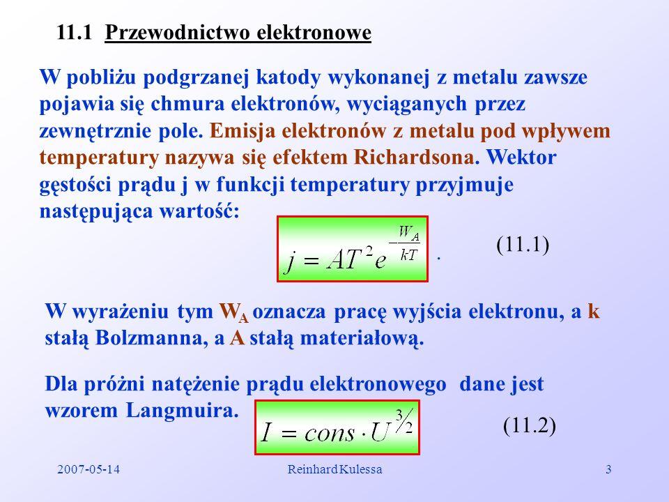 2007-05-14Reinhard Kulessa3 11.1 Przewodnictwo elektronowe W pobliżu podgrzanej katody wykonanej z metalu zawsze pojawia się chmura elektronów, wyciąg