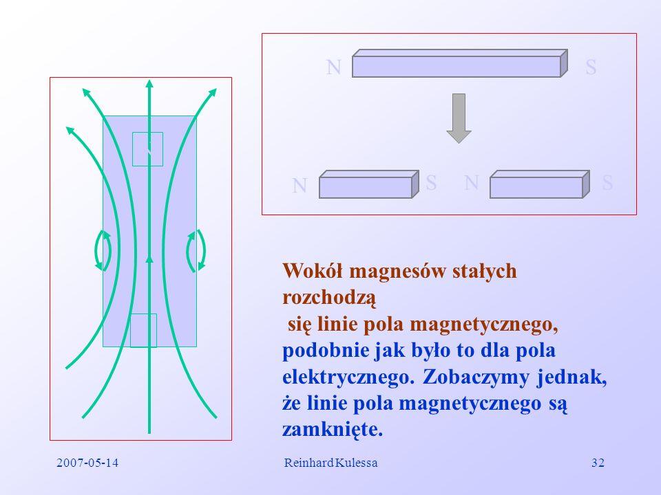2007-05-14Reinhard Kulessa32 NS N SNS N S Wokół magnesów stałych rozchodzą się linie pola magnetycznego, podobnie jak było to dla pola elektrycznego.