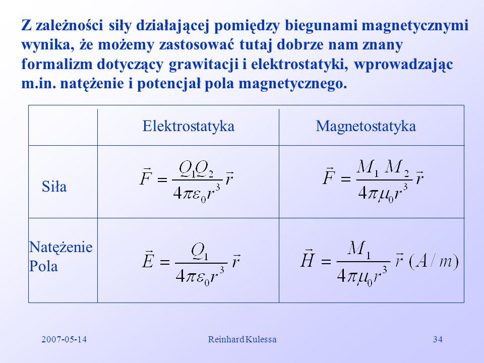 2007-05-14Reinhard Kulessa34 Z zależności siły działającej pomiędzy biegunami magnetycznymi wynika, że możemy zastosować tutaj dobrze nam znany formal