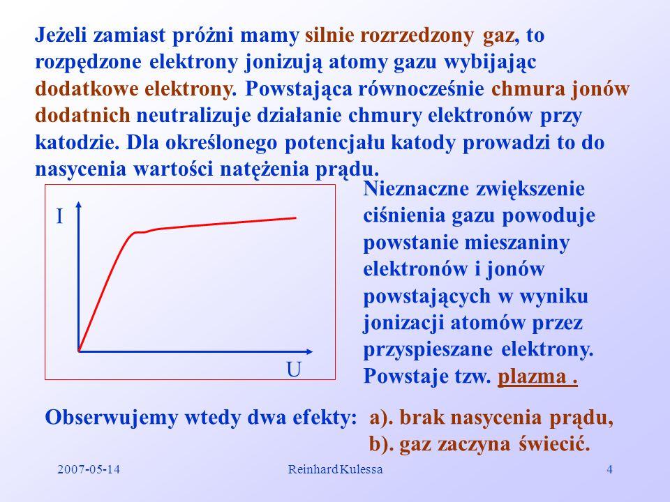 2007-05-14Reinhard Kulessa4 Jeżeli zamiast próżni mamy silnie rozrzedzony gaz, to rozpędzone elektrony jonizują atomy gazu wybijając dodatkowe elektro