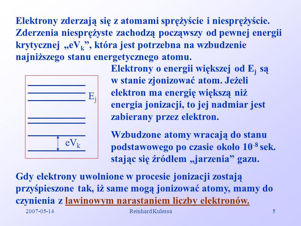 2007-05-14Reinhard Kulessa5 Elektrony zderzają się z atomami sprężyście i niesprężyście. Zderzenia niesprężyste zachodzą począwszy od pewnej energii k