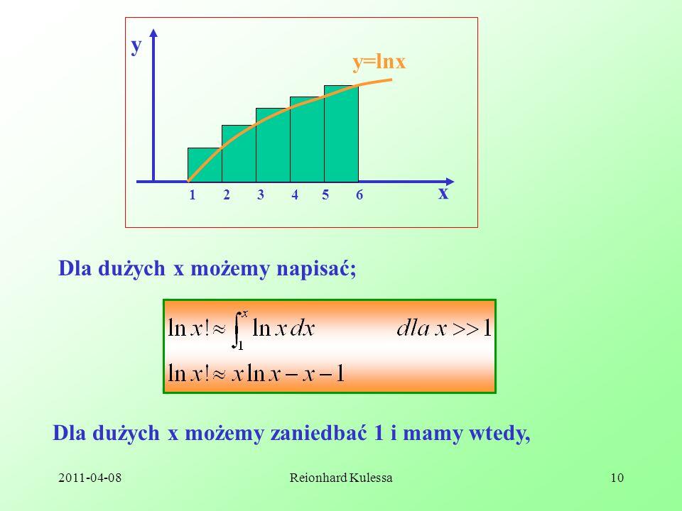 2011-04-08Reionhard Kulessa10 1 2 3 4 5 6 y x y=lnx Dla dużych x możemy napisać; Dla dużych x możemy zaniedbać 1 i mamy wtedy,