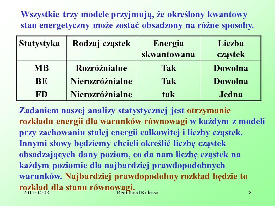 2011-04-08Reionhard Kulessa8 Wszystkie trzy modele przyjmują, że określony kwantowy stan energetyczny może zostać obsadzony na różne sposoby. Statysty