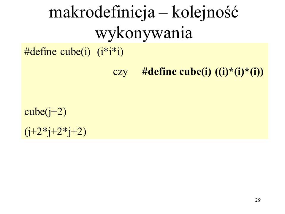 29 makrodefinicja – kolejność wykonywania #define cube(i) (i*i*i) czy #define cube(i) ((i)*(i)*(i)) cube(j+2) (j+2*j+2*j+2)
