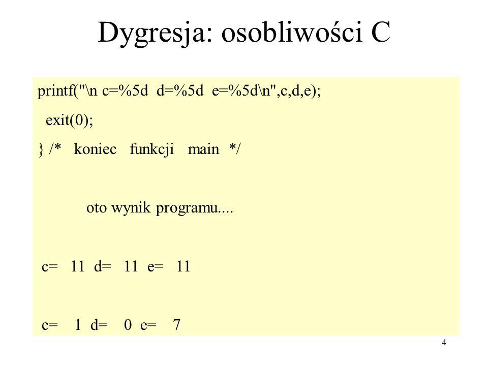 4 Dygresja: osobliwości C printf(