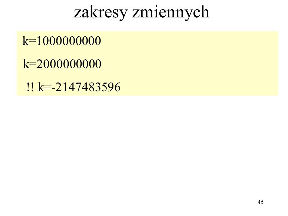 46 zakresy zmiennych k=1000000000 k=2000000000 !! k=-2147483596
