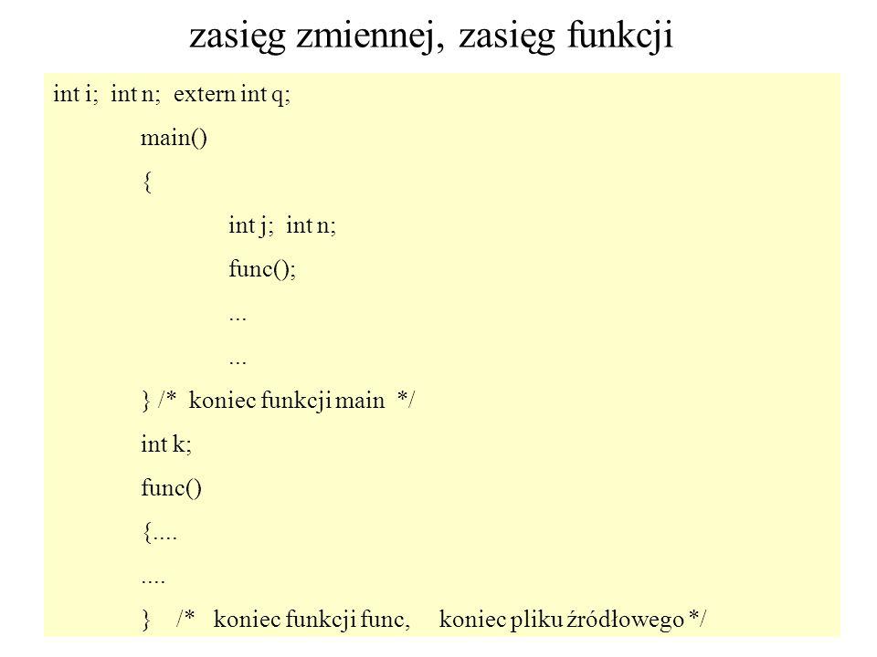 52 zasięg zmiennej, zasięg funkcji int i; int n; extern int q; main() { int j; int n; func();... } /* koniec funkcji main */ int k; func() {........ }