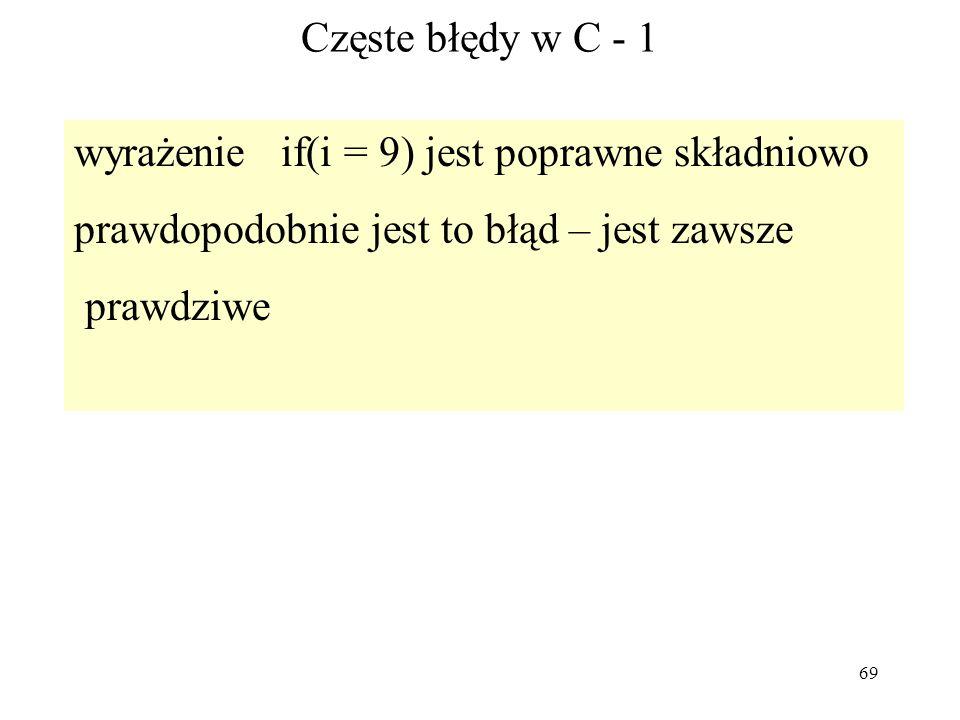 69 Częste błędy w C - 1 wyrażenie if(i = 9) jest poprawne składniowo prawdopodobnie jest to błąd – jest zawsze prawdziwe