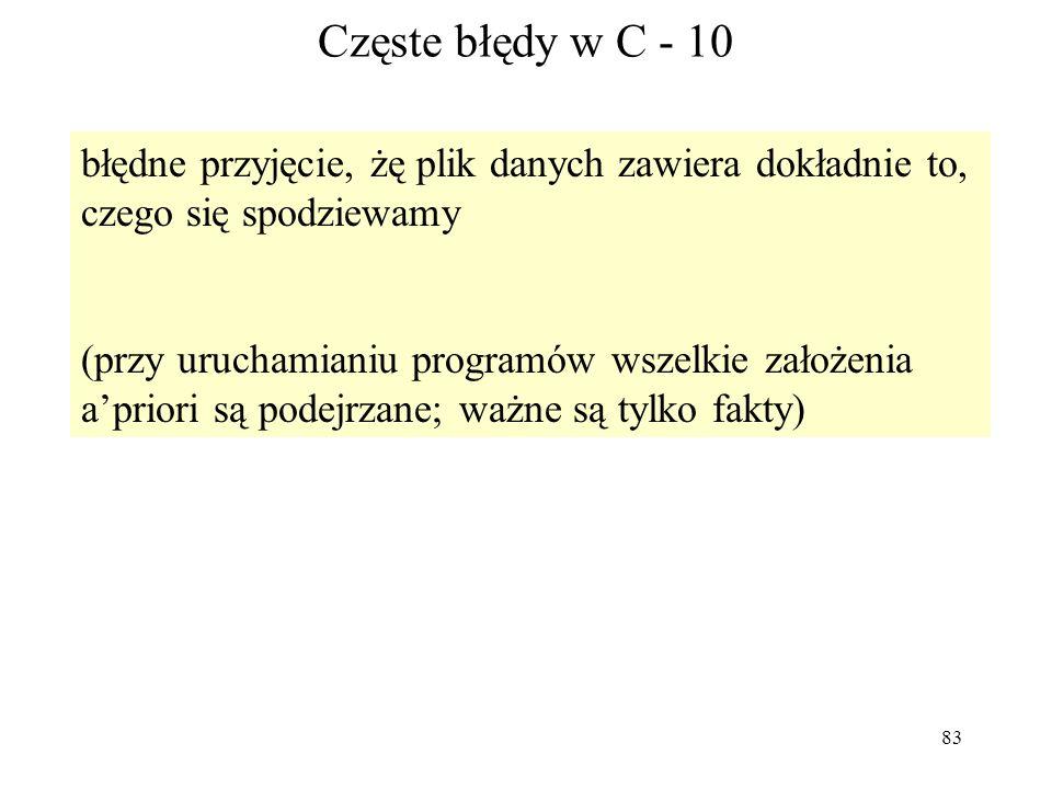 83 Częste błędy w C - 10 błędne przyjęcie, żę plik danych zawiera dokładnie to, czego się spodziewamy (przy uruchamianiu programów wszelkie założenia