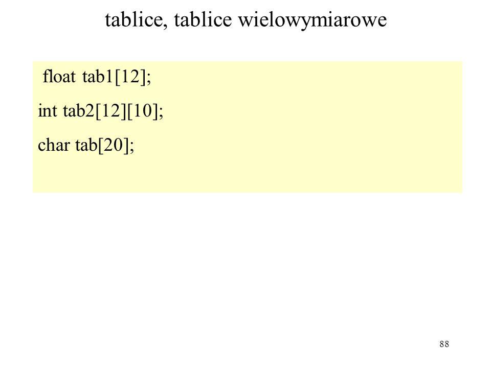 88 tablice, tablice wielowymiarowe float tab1[12]; int tab2[12][10]; char tab[20];
