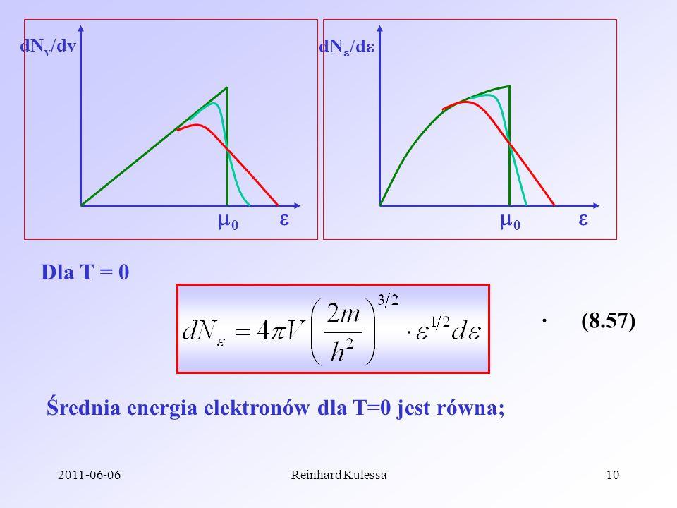 2011-06-06Reinhard Kulessa10 0 0 dN v /dv dN /d Dla T = 0 (8.57) Średnia energia elektronów dla T=0 jest równa;.