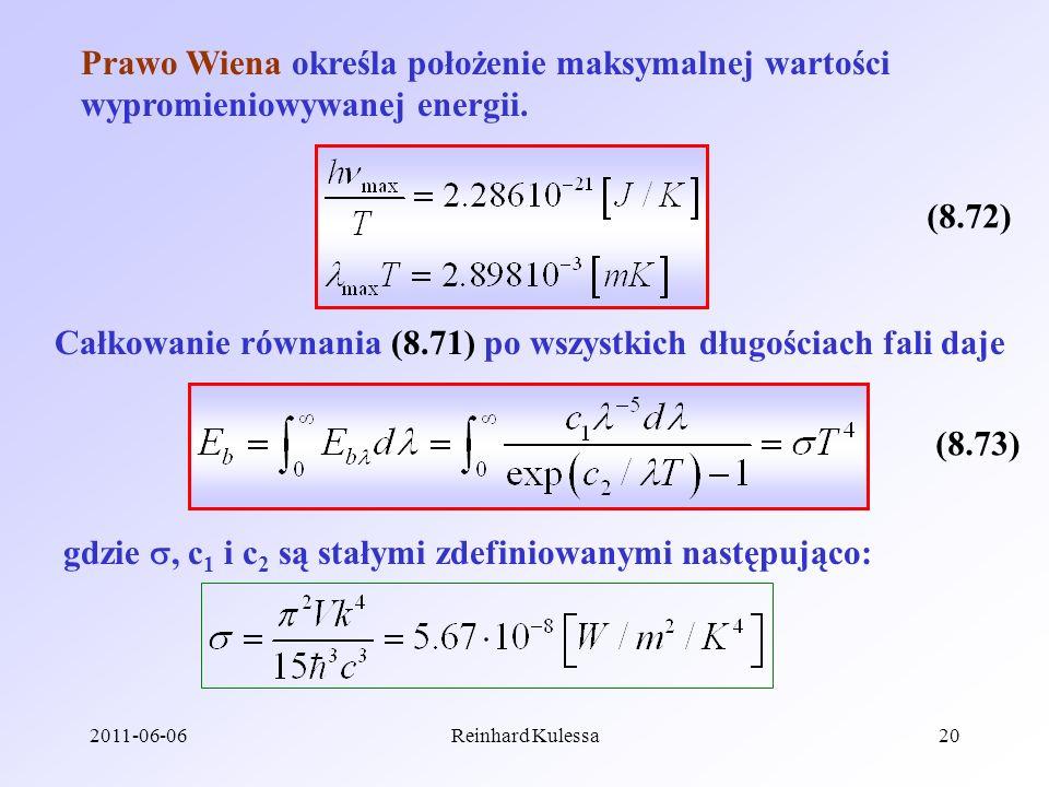 2011-06-06Reinhard Kulessa20 Prawo Wiena określa położenie maksymalnej wartości wypromieniowywanej energii. (8.72) Całkowanie równania (8.71) po wszys