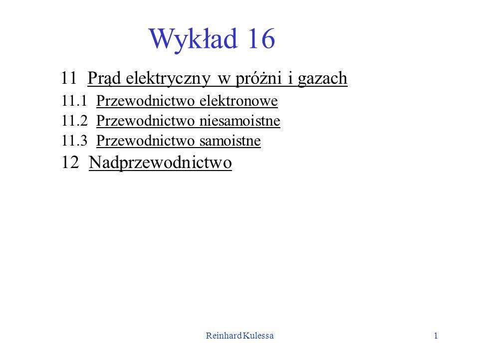 Reinhard Kulessa1 Wykład 16 11 Prąd elektryczny w próżni i gazach 11.1 Przewodnictwo elektronowe 11.2 Przewodnictwo niesamoistne 11.3 Przewodnictwo sa