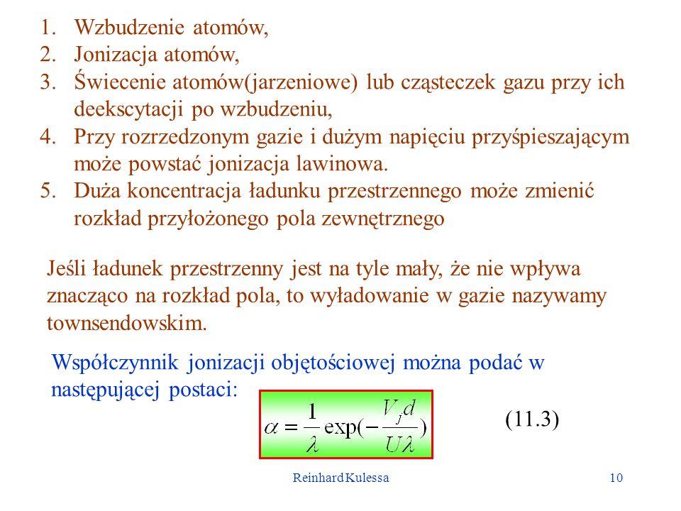 Reinhard Kulessa10 1.Wzbudzenie atomów, 2.Jonizacja atomów, 3.Świecenie atomów(jarzeniowe) lub cząsteczek gazu przy ich deekscytacji po wzbudzeniu, 4.