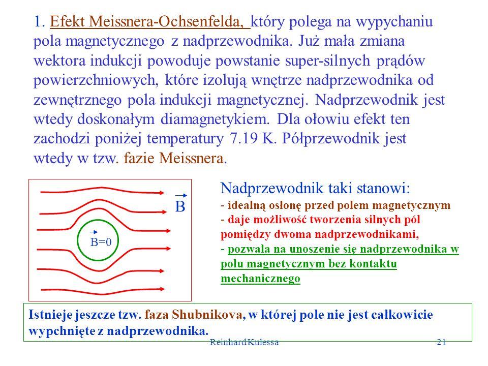 Reinhard Kulessa21 1. Efekt Meissnera-Ochsenfelda, który polega na wypychaniu pola magnetycznego z nadprzewodnika. Już mała zmiana wektora indukcji po