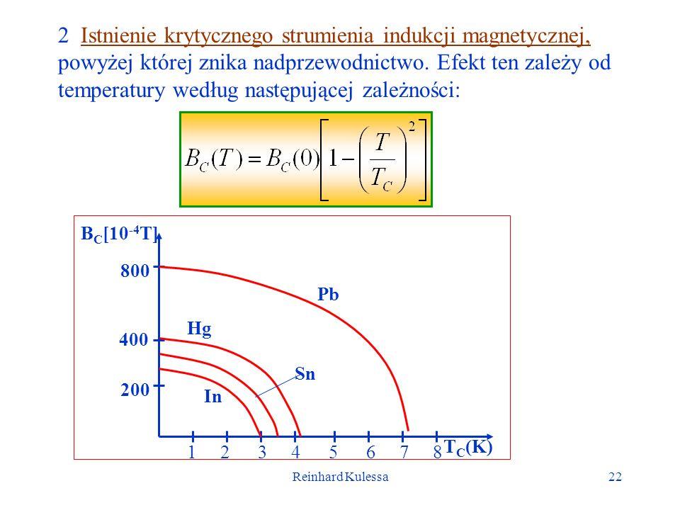 Reinhard Kulessa22 2 Istnienie krytycznego strumienia indukcji magnetycznej, powyżej której znika nadprzewodnictwo. Efekt ten zależy od temperatury we