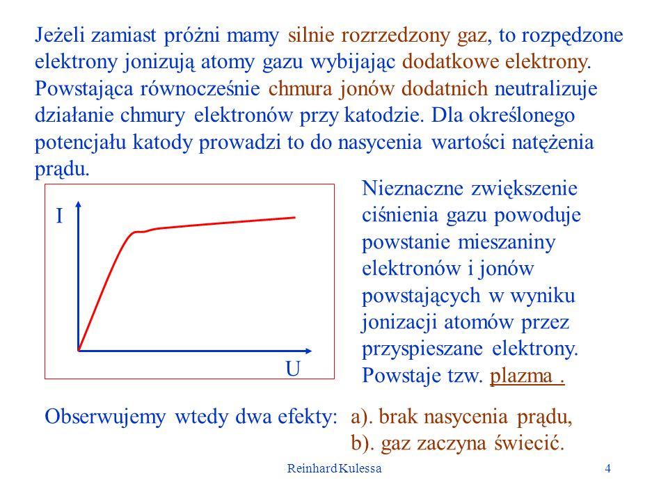 Reinhard Kulessa4 Jeżeli zamiast próżni mamy silnie rozrzedzony gaz, to rozpędzone elektrony jonizują atomy gazu wybijając dodatkowe elektrony. Powsta