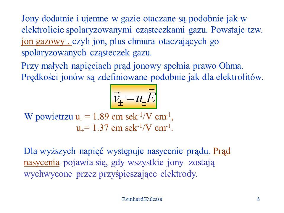Reinhard Kulessa8 Jony dodatnie i ujemne w gazie otaczane są podobnie jak w elektrolicie spolaryzowanymi cząsteczkami gazu. Powstaje tzw. jon gazowy,