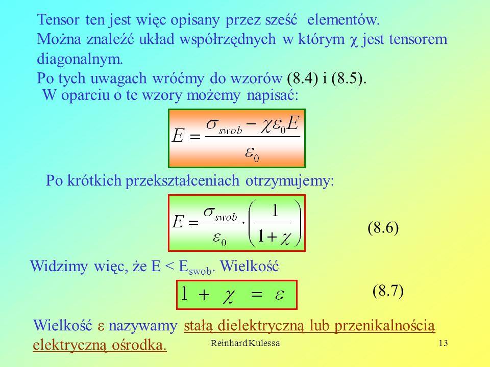 Reinhard Kulessa13 Tensor ten jest więc opisany przez sześć elementów. Można znaleźć układ współrzędnych w którym jest tensorem diagonalnym. Po tych u