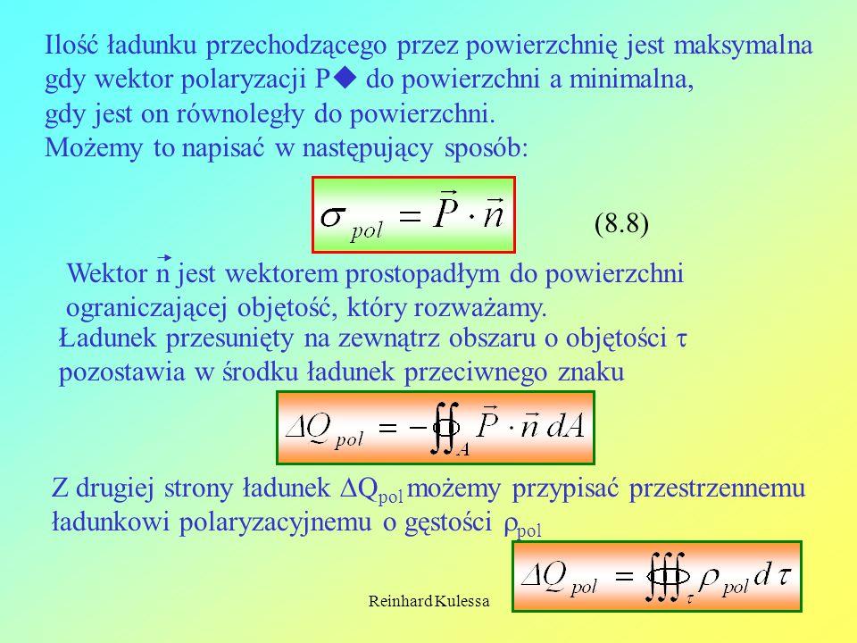 Reinhard Kulessa15 Ilość ładunku przechodzącego przez powierzchnię jest maksymalna gdy wektor polaryzacji P do powierzchni a minimalna, gdy jest on ró