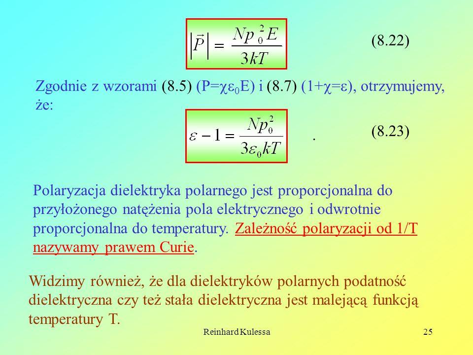 Reinhard Kulessa25 (8.22) Zgodnie z wzorami (8.5) (P= 0 E) i (8.7) (1+ = ), otrzymujemy, że: (8.23). Polaryzacja dielektryka polarnego jest proporcjon