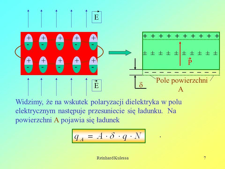 Reinhard Kulessa7 E E – – – – – + + + + + ± ± ± ± ± P Pole powierzchni A Widzimy, że na wskutek polaryzacji dielektryka w polu elektrycznym następuje