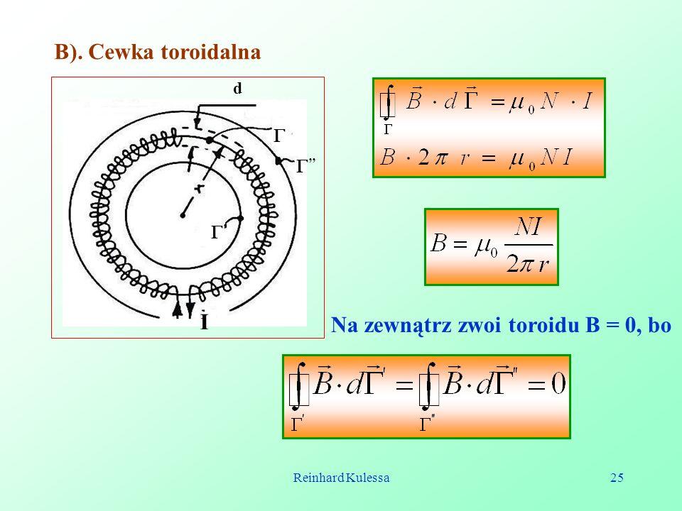 Reinhard Kulessa25 B). Cewka toroidalna d I Na zewnątrz zwoi toroidu B = 0, bo
