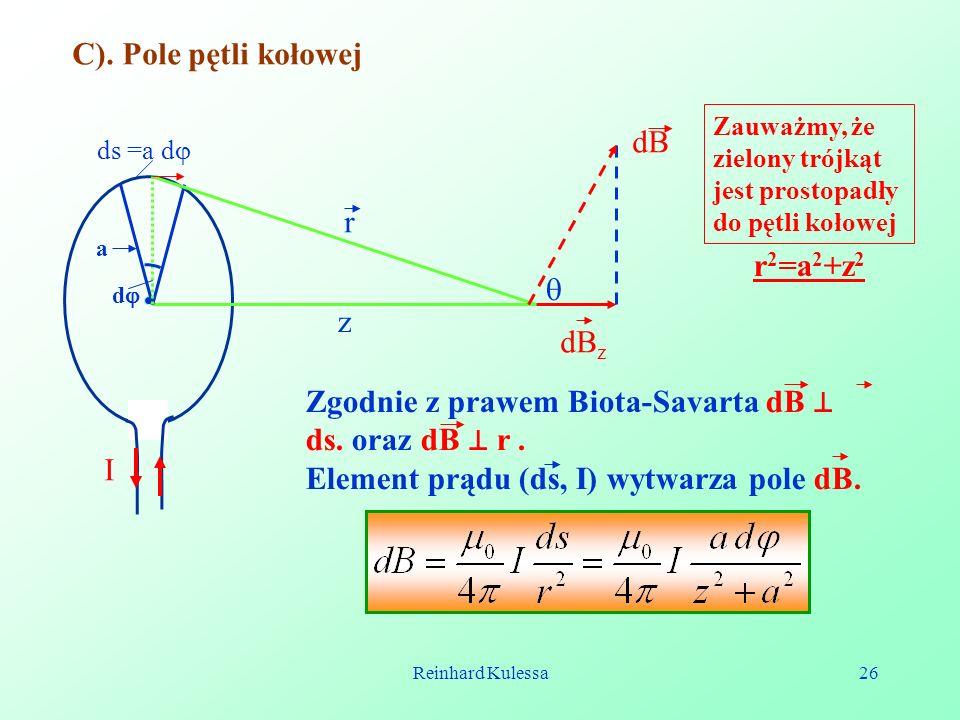 Reinhard Kulessa26 C). Pole pętli kołowej I ds =a d a d r z dB z dB Zgodnie z prawem Biota-Savarta dB ds. oraz dB r. Element prądu (ds, I) wytwarza po