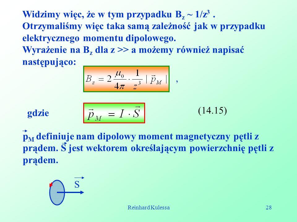Reinhard Kulessa28 Widzimy więc, że w tym przypadku B z ~ 1/z 3. Otrzymaliśmy więc taka samą zależność jak w przypadku elektrycznego momentu dipoloweg
