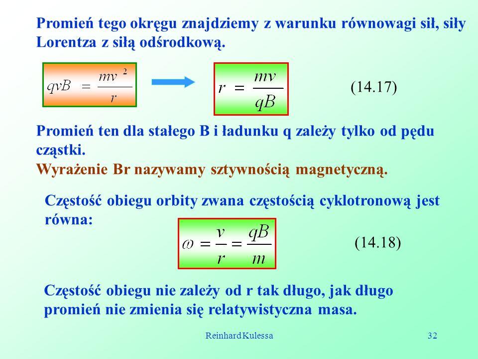 Reinhard Kulessa32 Promień tego okręgu znajdziemy z warunku równowagi sił, siły Lorentza z siłą odśrodkową. (14.17) Promień ten dla stałego B i ładunk