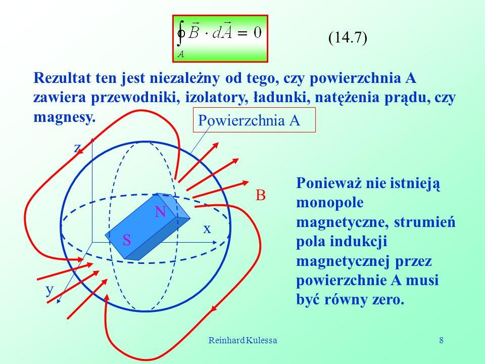 Reinhard Kulessa8 (14.7) Rezultat ten jest niezależny od tego, czy powierzchnia A zawiera przewodniki, izolatory, ładunki, natężenia prądu, czy magnes