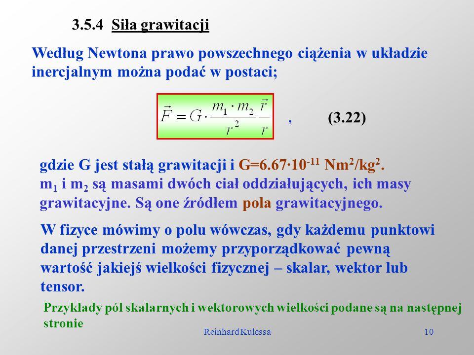 Reinhard Kulessa10 3.5.4 Siła grawitacji Według Newtona prawo powszechnego ciążenia w układzie inercjalnym można podać w postaci;, (3.22) gdzie G jest