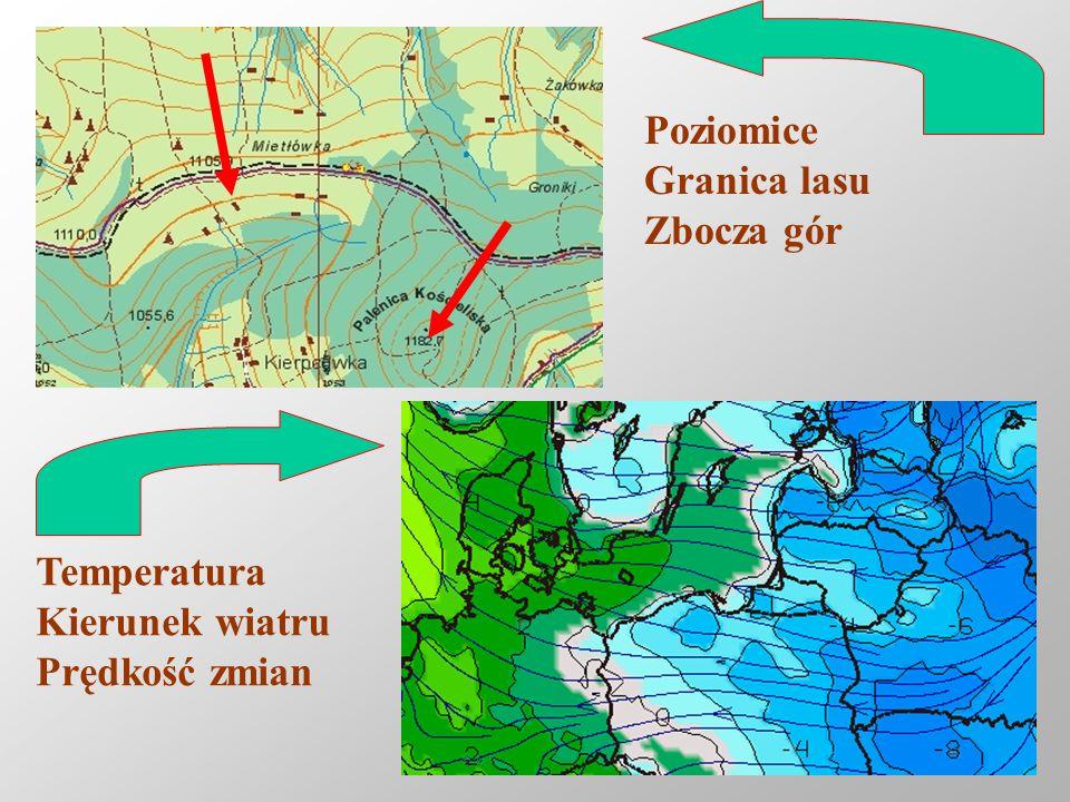 Reinhard Kulessa11 Poziomice Granica lasu Zbocza gór Temperatura Kierunek wiatru Prędkość zmian