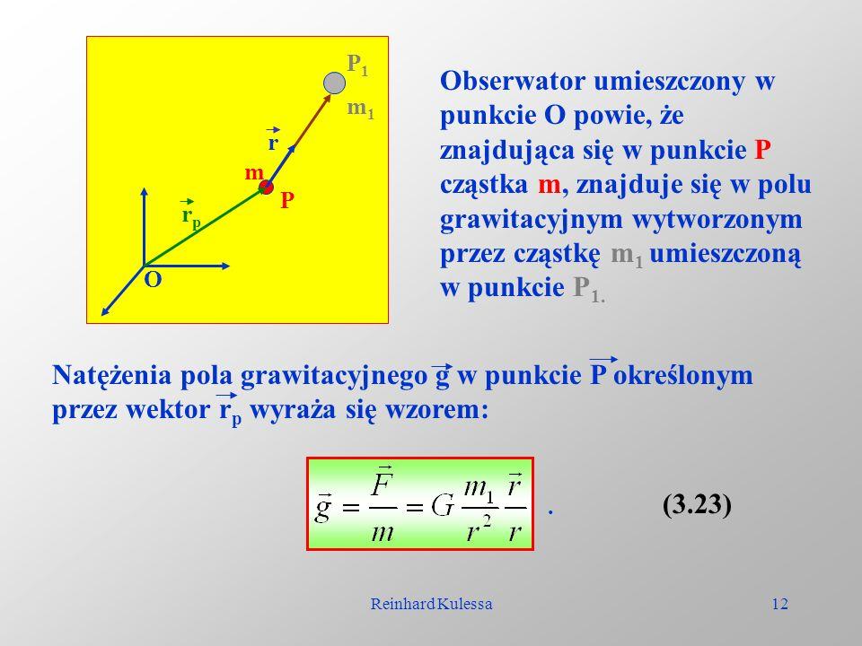 Reinhard Kulessa12 O P P1P1 m1m1 m rprp r Obserwator umieszczony w punkcie O powie, że znajdująca się w punkcie P cząstka m, znajduje się w polu grawi