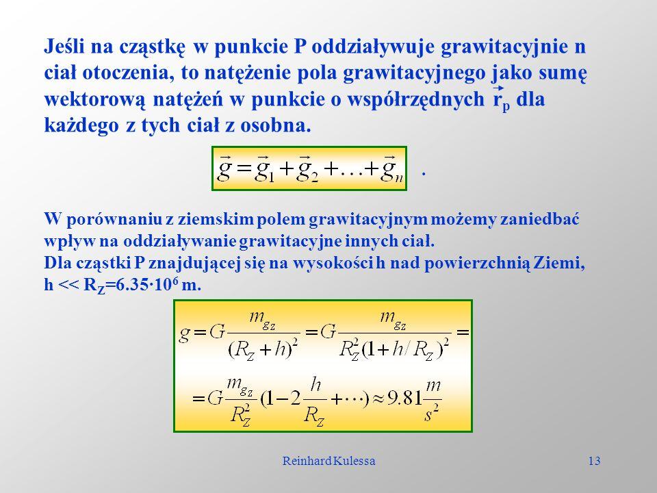 Reinhard Kulessa13 Jeśli na cząstkę w punkcie P oddziaływuje grawitacyjnie n ciał otoczenia, to natężenie pola grawitacyjnego jako sumę wektorową natę