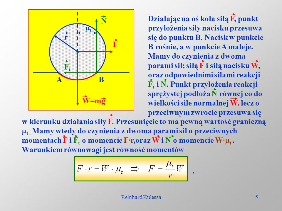 Reinhard Kulessa5 Działając na oś koła siłą F, punkt przyłożenia siły nacisku przesuwa się do punktu B. Nacisk w punkcie B rośnie, a w punkcie A malej