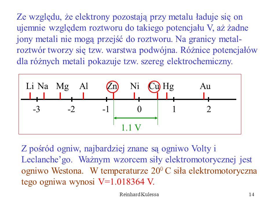 Reinhard Kulessa14 Ze względu, że elektrony pozostają przy metalu ładuje się on ujemnie względem roztworu do takiego potencjału V, aż żadne jony metal