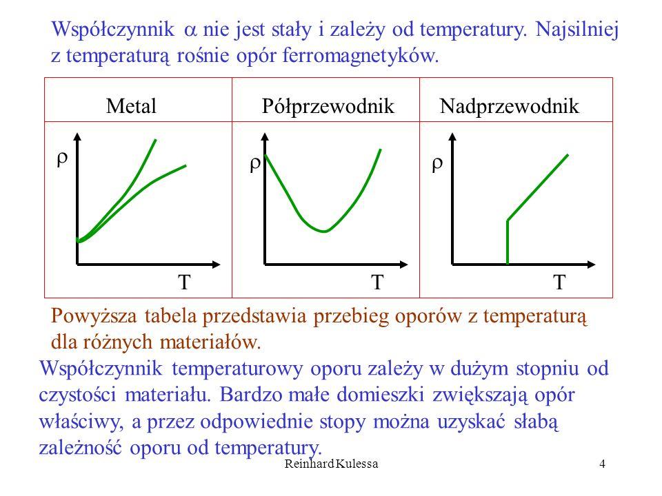 Reinhard Kulessa4 Metal Półprzewodnik Nadprzewodnik TTT Powyższa tabela przedstawia przebieg oporów z temperaturą dla różnych materiałów. Współczynnik