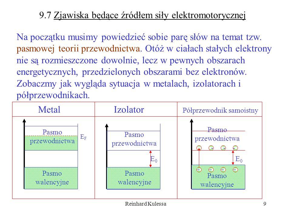 Reinhard Kulessa10 9.7.1 Praca wyjścia, kontaktowa różnica potencjałów Wiemy, że elektrony w metalach zajmują wszystkie stany aż do energii Fermiego.