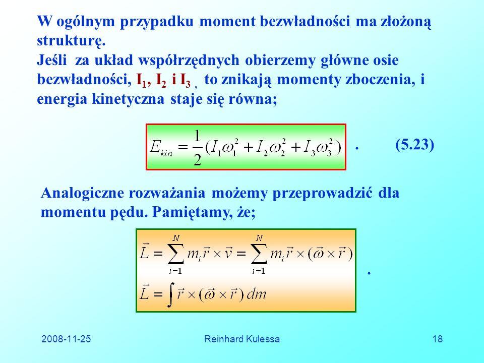 2008-11-25Reinhard Kulessa18 W ogólnym przypadku moment bezwładności ma złożoną strukturę.