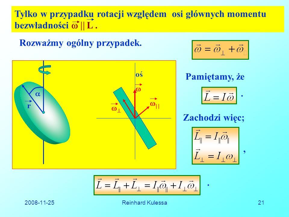 2008-11-25Reinhard Kulessa21 Tylko w przypadku rotacji względem osi głównych momentu bezwładności L.