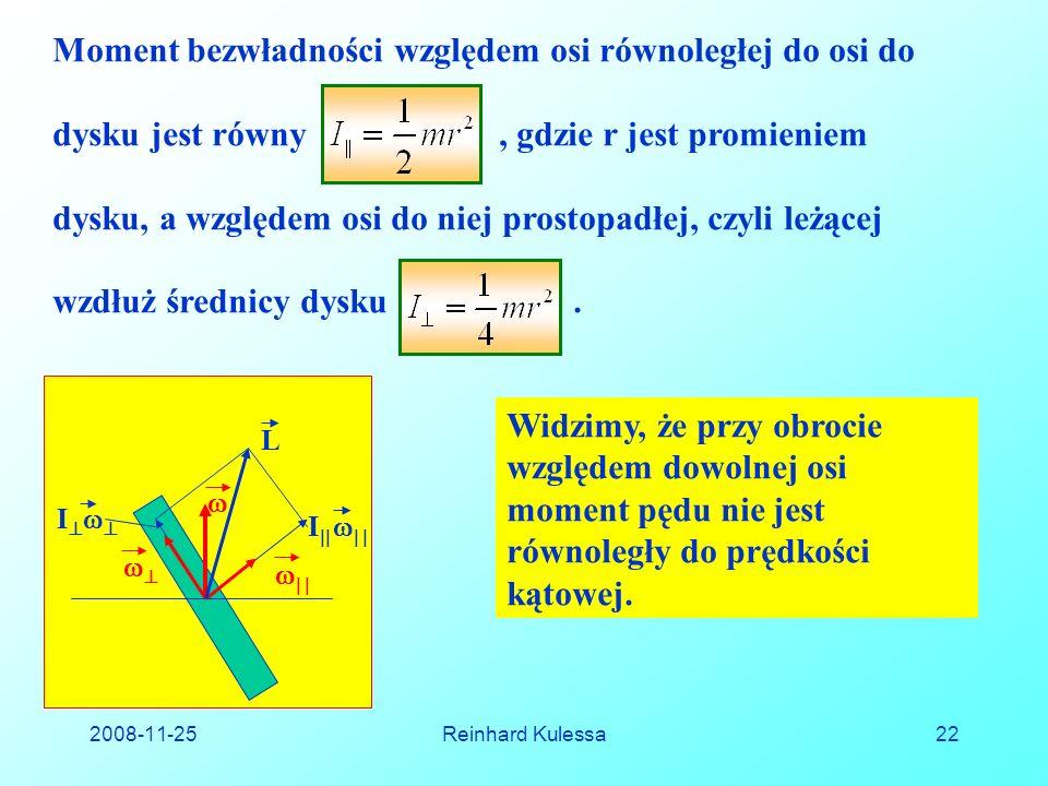2008-11-25Reinhard Kulessa22 Moment bezwładności względem osi równoległej do osi do dysku jest równy, gdzie r jest promieniem dysku, a względem osi do niej prostopadłej, czyli leżącej wzdłuż średnicy dysku.