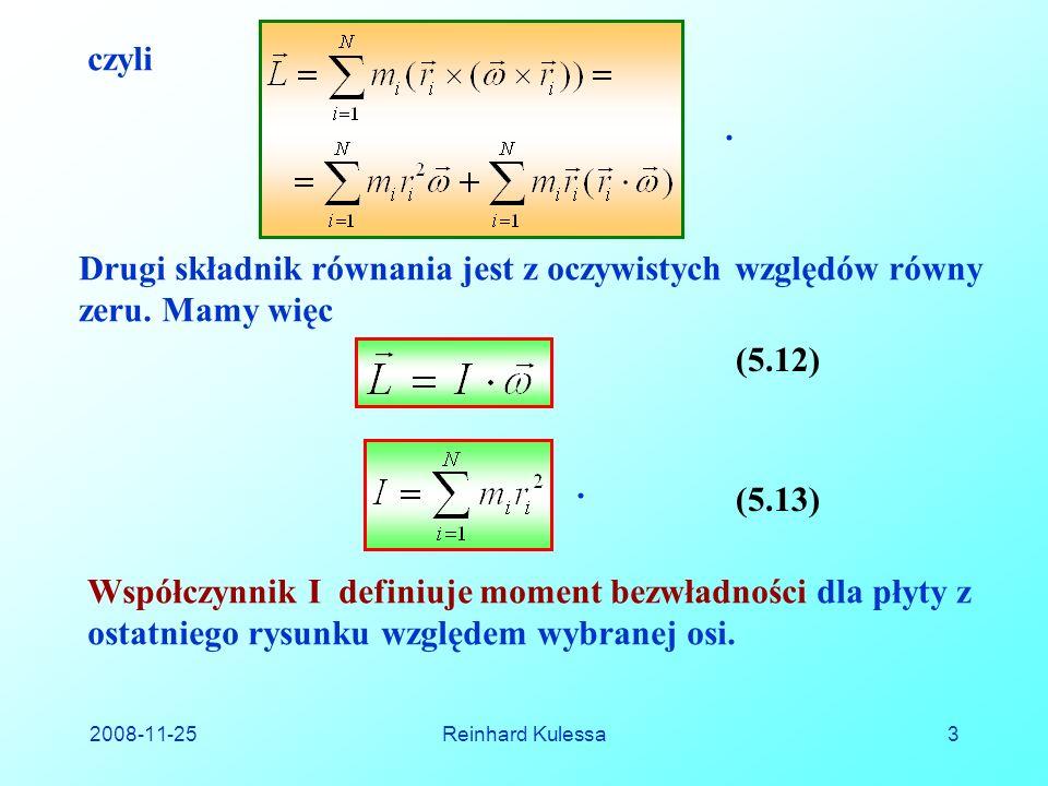 2008-11-25Reinhard Kulessa14 5.6.2 Główne osie bezwładności Dotychczas określaliśmy moment bezwładności ciała dookoła bliżej nieokreślonych osi obrotu.