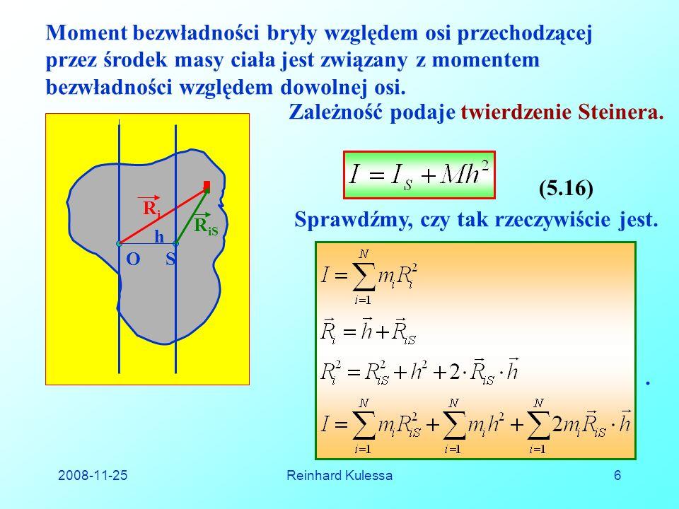 2008-11-25Reinhard Kulessa17 Dla nieciągłego rozkładu masy, całki zastępujemy przez sumy.
