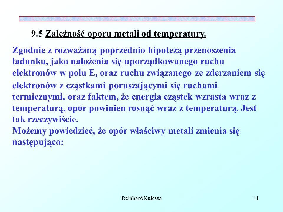 Reinhard Kulessa11 9.5 Zależność oporu metali od temperatury. Zgodnie z rozważaną poprzednio hipotezą przenoszenia ładunku, jako nałożenia się uporząd