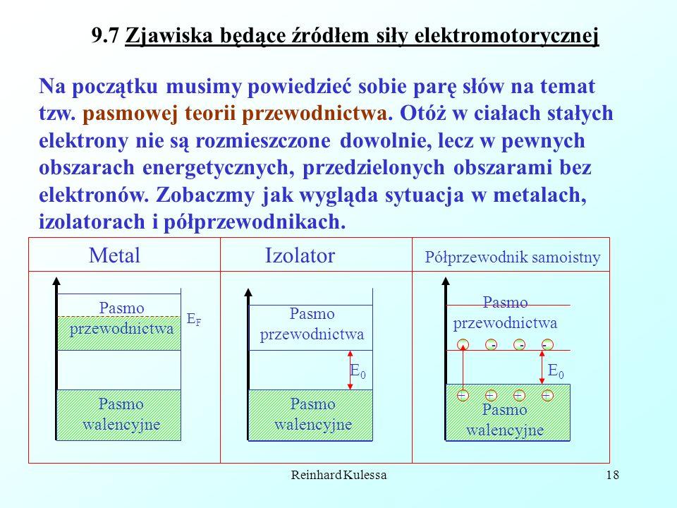 Reinhard Kulessa18 Pasmo przewodnictwa 9.7 Zjawiska będące źródłem siły elektromotorycznej Na początku musimy powiedzieć sobie parę słów na temat tzw.